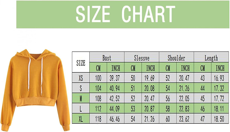 Women Crop Top Cute Sweatshirts Teen Girls Fashion Hoodie Solid Color Crop Top Sweatshirt Long Sleeve Pullover Shirt Top