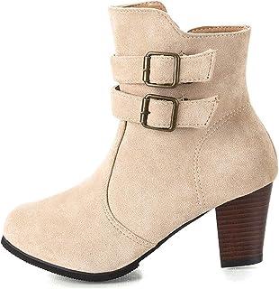 Zip Buckle Strap Smart Womens Ankle Boots, Block Low Mid Heel Ladies Booties Shoes