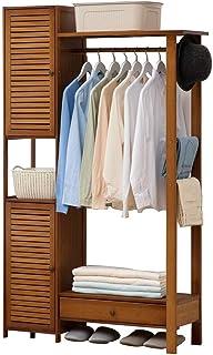 LOHOX Portant Penderie à Vêtements en Bambou Porte Manteau Armoire Crochets Etagères étagère 2 Espaces de Rangement avec P...