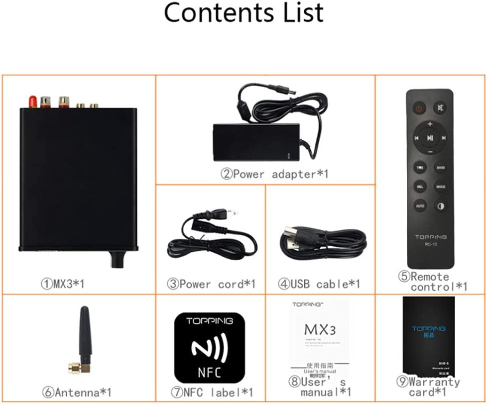 Topping MX3 Receptor Bluetooth Integrado DAC Headphome Amplificador Digital Plateado