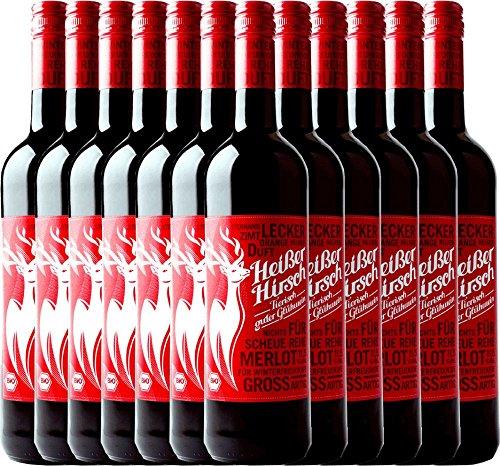 12er Vorteilspaket - Roter Bio-Glühwein - Heißer Hirsch | veganer Glühwein | roter Glühwein aus Deutschland in Bio-Qualität | 12 x 0,75 Liter