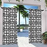 Cortinas de patio en blanco y negro, diseño de estrella celta con flechas con lunares con diseño canónico floral, para casa de campo, pasillo de 108 x 84 pulgadas, negro y blanco