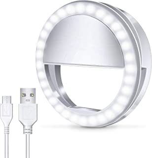 Meifigno Selfie Phone Camera Ring Light with 36 LED [Rechargeable], Clips On, 3-Level Adjustable Brightness Makeup Light for iPhone X Xr Xs Max 7 8 Plus 11 Pro Android Samsung Photography (White)