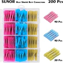 200Pcs Heat Shrink Butt Connectors Kit SUNOR Insulated Waterproof Marine Automotive Grade Terminal Set Electrical Wire Cri...