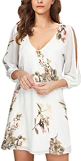 Noctflos Women Summer Cold Shoulder Floral V Neck Shift Short Dress