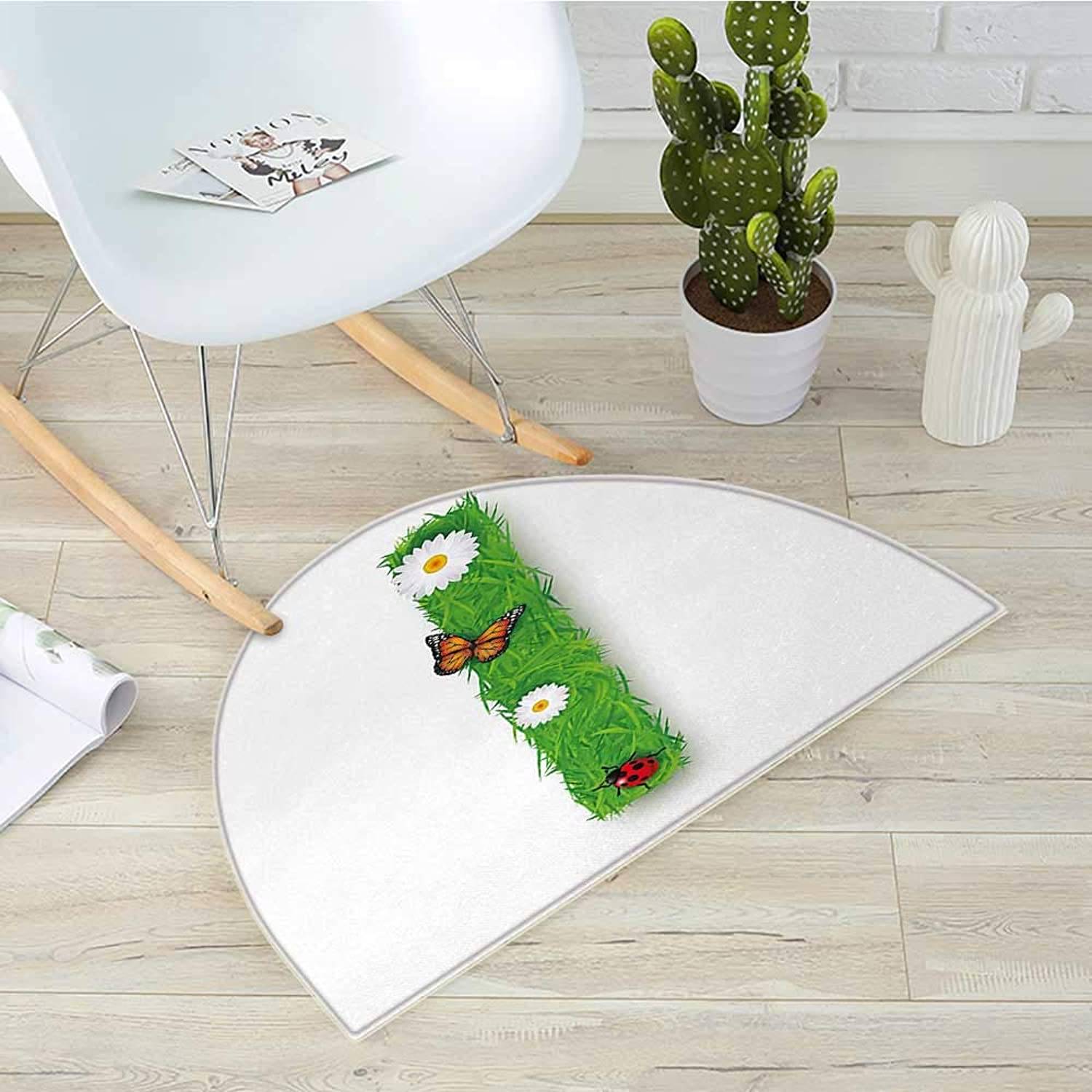 Letter I Semicircular CushionGrass Letters with Floral Butterfly Refreshing Writing Nursery Daisy Print Entry Door Mat H 43.3  xD 64.9  Green Multicolor