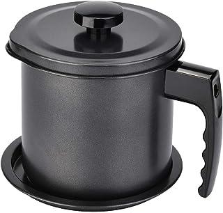 Grasa para Olla de Aceite - 1.3L de baquelita Guardián de Almacenamiento de Aceite, Aceite de Cocina de Cocina Bote para macetas Dispensador de contenedores con Filtro para el hogar (Negro)