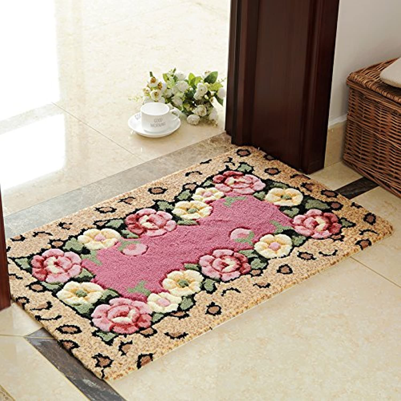 Flowers Entrance Door mat, Bedroom mat Living Room Bathroom Kitchen Water Absorbent Slip Proof mat -A-80x80cm(31x31inch)