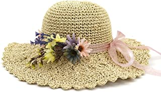 Songlin @ yuan Summer Women Straw Bucket Hat Lady Hademade Outdoor Flower Beach Sun Hat Size: 56-58cm (Color : Khaki, Size : 56-58CM)
