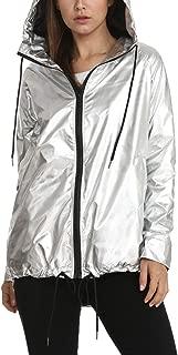 Quesera Women's Sparkly Clubwear Jacket Long Sleeve Lightweight Zipper Metallic Hooded Waterproof Rain Jacket Outwear