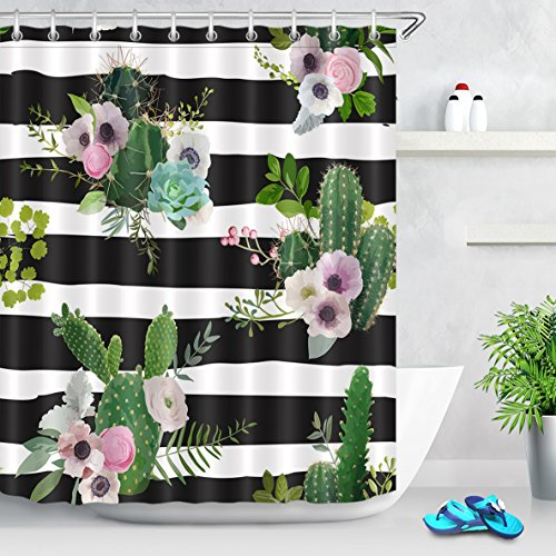 Cactus Blossoms and Stripes Shower Curtain
