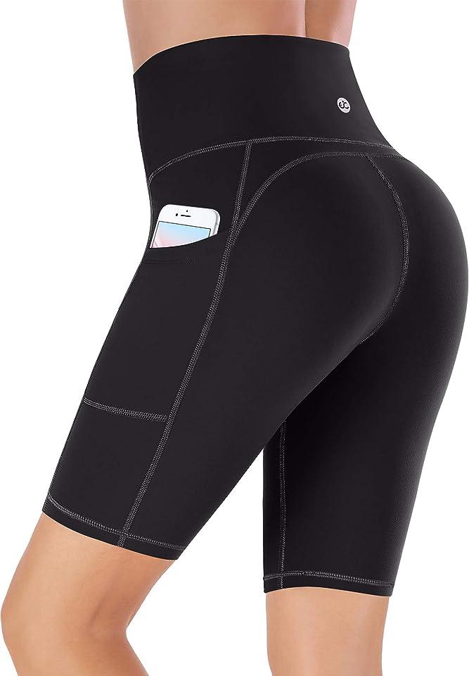Shorts Damen mit Taschen Sporthose Damen Sport Shorts Kurze Hose Damen Sport Leggings Damen kurz Radlerhose Laufhose