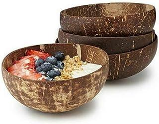 POOPOOAJ Coconut Shell Bowl Fruit Salad Noodle Rice Bowl Handicraft Decoration Natural Coconut Fruit Bowl Kitchen Accessories
