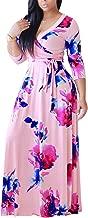 mamak Women's Summer V Neck 3/4 Sleeve Floral Print Wrap Tie Waist Long Maxi Dress Evening Party Beach Sundress