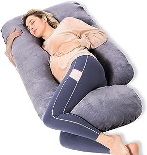 بالش های بارداری Momcozy ، بالش حاملگی تمام بدن به شکل U با روکش متحرک ، بالش ساپورت باردار خاکستری برای خواب