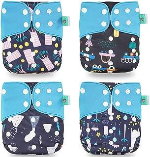 Wenosda 4PCS Pañales de tela para bebés Fibra de café Pañales de bolsillo Pañales reutilizables lavables Inserte el pañal de bolsillo todo en uno para la mayoría(Azul + Nubes Blancas (Mejora))