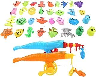 Tnfeeon Juego de 39 piezas de pesca magnéticas para bebés, juguetes de baño impermeables para bañeras