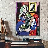 Picasso - Pintura de diamante 5D para mujer con libro, punto de cruz, bordado de diamantes de imitación, para decoración de pared del hogar