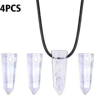 Wholesale 4PCS Natural Clear Quartz Pendant with 3mm Hole Charms Bulk for DIY Necklace
