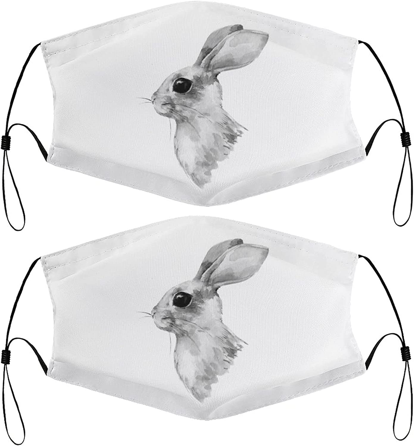 Rabbit Bunny Drawing Kids Face Masks Set of 2 with 4 Filters Washable Reusable Breathable Black Cloth Bandanas Scarf for Unisex Boys Girls