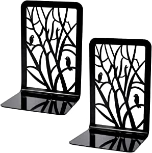 Book Ends, Bookends, Book Ends for Shelves, 1Pair Non Skid Metal Heavy Duty Bookend for Books, Book Divider Decorative Holder, Abstract Art Desgin Book Stopper Supports for Office, Home (1pair A)