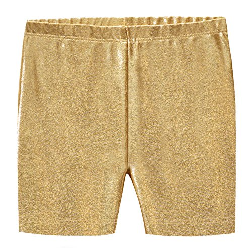 City Threads Girls Underwear Novelty Bike Shorts for Play School Uniform Dance Class and Under Dresses, Sparkly Gold, 10