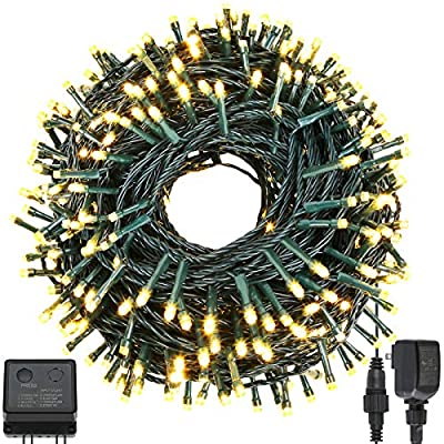 Quwin Waterproof LED Outdoor Christmas String Lights, 115Ft 300 LED UL Certified 8 Modes With End-to-End Plug, Indoor & Outside Fairy Light for Christmas Tree, Patio, Wedding, Party (Warm White)