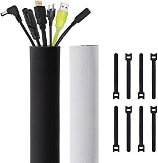 Kootek 118-Inch Cable Management Sleeves with Cable Ties, Neoprene Cable Organizer Cord Cover Wire Hider for TV Computer Office Theater (Black, Large)