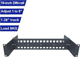 Elenzk 19inch Adjustable DIN Rail Mount Bracket 35mm DIN Rail Terminal Blocks Metal DIN Mounting Rail DIN Rail Rack Mount for Industrial Media Converters Ethernet Switches and Other DIN-Rail Products