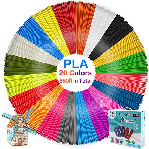 Ricariche per filamenti per penna 3D PLA, 20 colori, diametro 1,75 mm, filamento per stampa 3D a 33 piedi per ogni colore, lunghezza totale 660 piedi, adatto per penna per stampa 3D intelligente