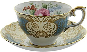 Vintage Crown Fine Bone China Staffordshire England Blue & Gold Gilt Floral Pattern Tea Cup and Saucer Set