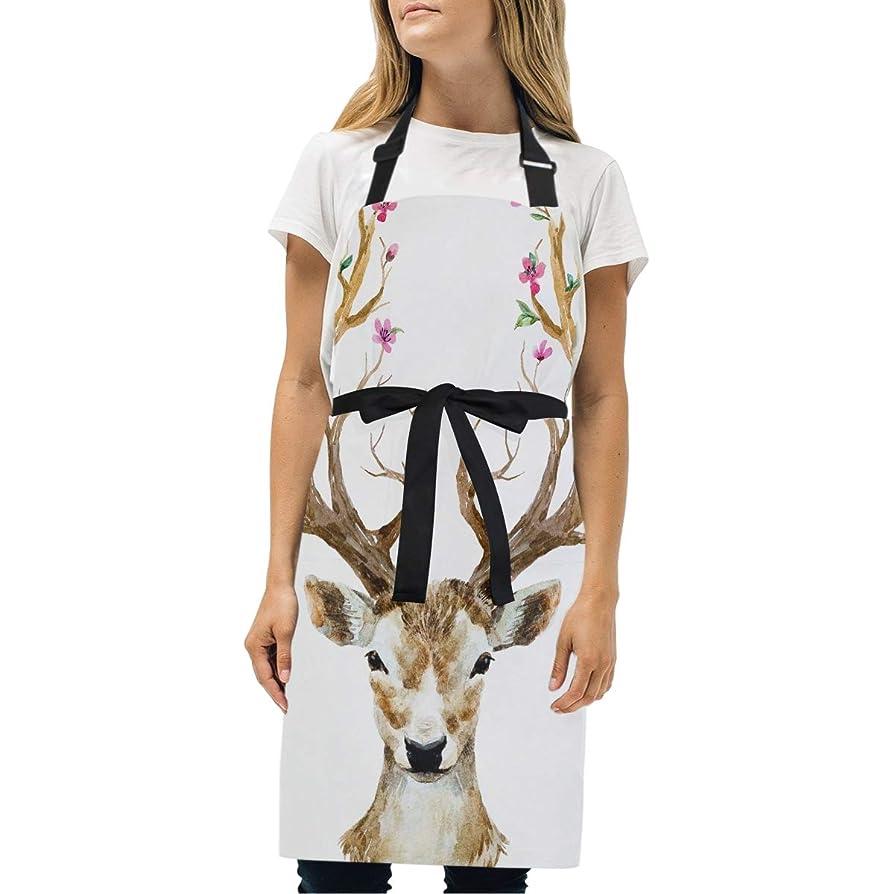ぐったり額ケーブルカーHAYO シンプルエプロン 可愛い動物 鹿 首掛け ポケット付 シワになりにくい 汚れにくい 調整可能 防水 仕事用 家庭用 男女兼用 カフェ風 70*73cm 台所 レストラン シェフ クッキング