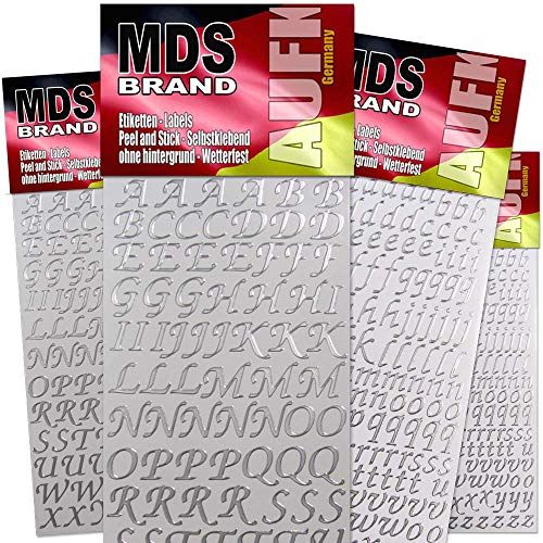 MDS Brand Klebebuchstaben 4X Groß & Kleinbuchstaben 6X Farben für Kerzen & Scrapbook 71(Silber)