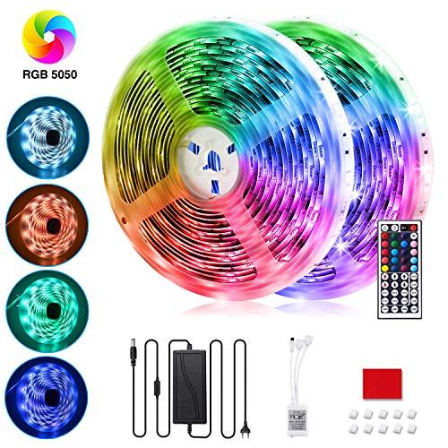 LED Streifen 10M, VOYOMO LED Strips RGB 300LEDs SMD5050, 20 Farben mit 44 Tasten IR-Fernbedienung Beleuchtung Full Kit, 12V 5A Netzteil für Innen Beleuchtung Deko, Haus, Küche, TV, Party