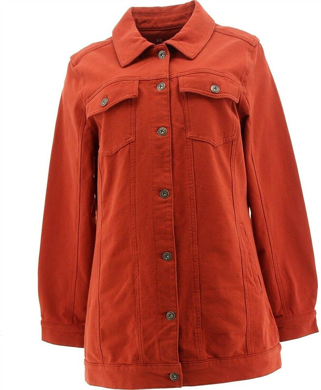 Denim & Co Comfy Knit Long Jean Jacket Rich Rust M New A367987
