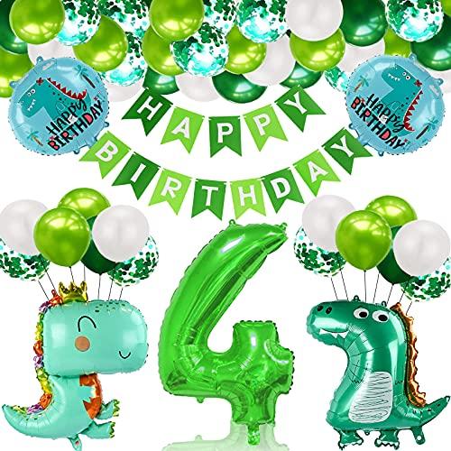 Gxhong 4 Año Fiesta de Cumpleaños Decoracion, Selva Decoraciones Cumpleaños de Fiesta, Cumpleaños Decoración Set, Fiesta de Dinosaurio Globo, para Niño Cumpleaños Baby Shower Decoración