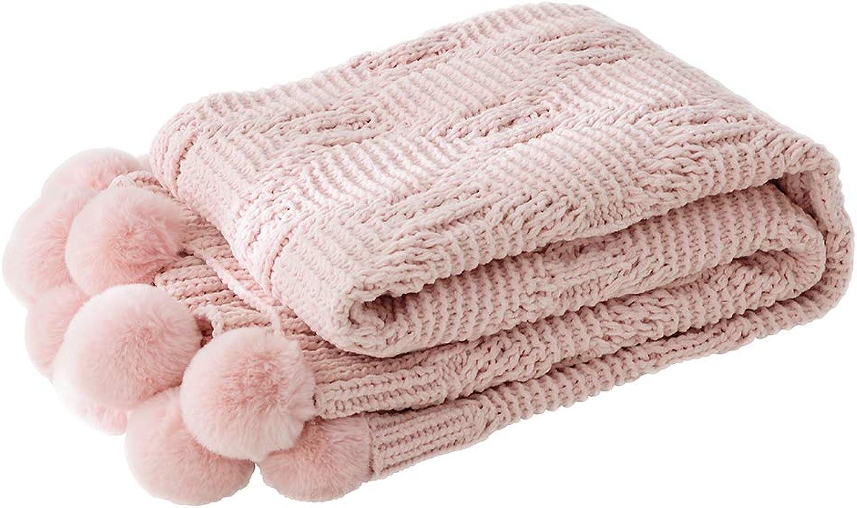 LIFEREVO Luxury Acrylic Chenille Faux Fur Pompoms Fringe Throw Blanket Diamond Jacquard Ultra Soft (Pink, 51 x63 )