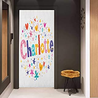 Onefzc Glass Door Sticker Decals Charlotte Happy Smiling Stars and Hearts Joyous Composition of Colorful Female Name Design Door Mural Free Sticker W32 x H80 Multicolor