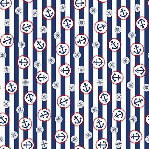 Erstklassiger Baumwollstoff 0,5lfm, 100% Baumwolle, modische Muster, Breite 160cm – Anker und Streifen