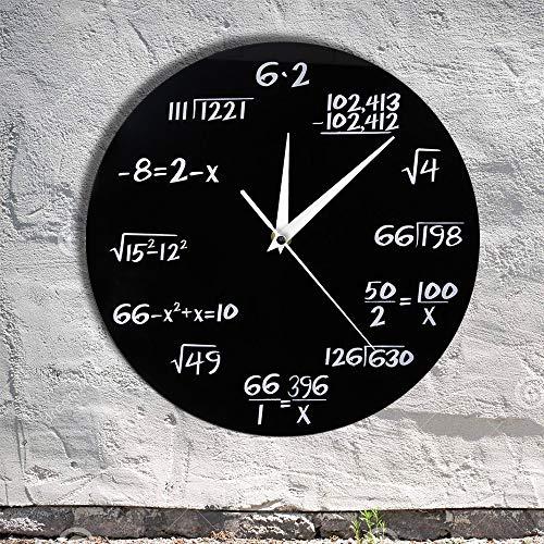 KWYAN Engineering Numbers Math Wall Clock Math Equation Decorative Clock Pop Quiz Wall Art Science Gift Math Geeks and Teachers Gift