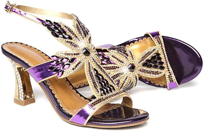Summer Ladies Sandals Rhinestone Temperament Elegant European and American Style Thick and Comfortable High 4Cm bluee Purple gold,Purple,36