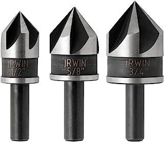 Utoolmart Countersink Drill Bit Set 6.3mm 8.3mm 10.4mm 12.4mm 16.5mm 20.5mm Round Shank 90 Degree 3 Flute Titanium Chamfer Tool for Woodworking HSS 6pcs