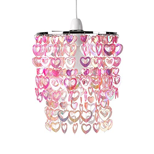 Pink Hearts and Butterflies Ceiling Pendant Light Shade bedroom lamp