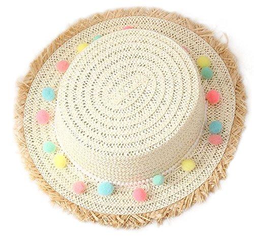Skyeye Sombrero de Mujer Dulce para Niños Sombrero de Paja de Peluche de Colores Sombrero de Playa de Ráfaga Sombrero de Yerano