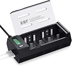 EBL LCD Individual Battery Charger for AA AAA C D 9V NiMH Rechargeable Batteries with Discharge Function & 2 USB Port for Phone