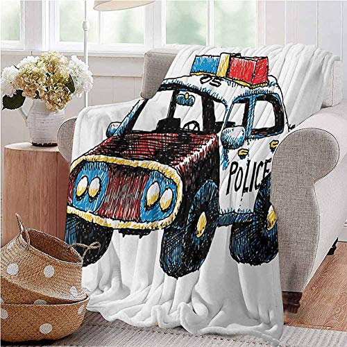 Police Warm Blanket Cartoon Hand Drawn Police Car Unusual Design with Sketchy Coloring Print Warm Microfiber All Season Blanket 70x90 Inch Red Yellow and Blue Full Size
