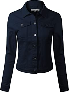 Design by Olivia Women's Solid Button Down Long Sleeve Classic Outerwear Cropped Denim Jacket