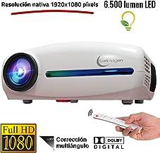 Proyector Full HD 1080P, Luximagen FUHD200 (1920x1080) 6.500 lúmenes LED, Proyector Maxima luminosidad Portátil LED Cine en casa AC3 HDMI USB MKV Sin Input Lag Corrección Horizontal (Blanco)