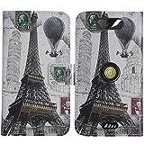 TienJueShi Eiffelturm Flip Book-Style Brief Leder Tasche Schutz Hulle Handy Hülle Abdeckung Fall Wallet Cover Etui Skin Fur Crosscall Action x3 5 inch