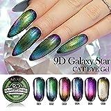 6 Teile/satz 9D Tränken Weg Von Katzenaugen Effekt Nagellack UV LED Gel Kleber Super Galaxy Blinkende Chamäleon Nagellack 6 Farben